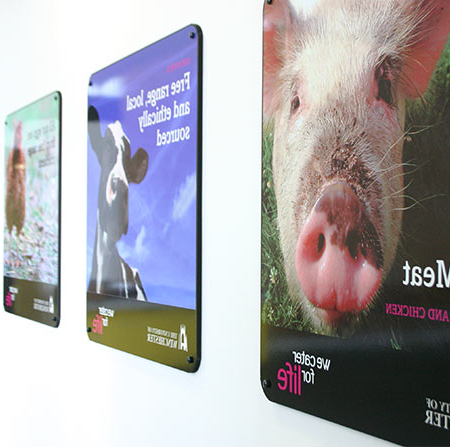 Posters of the ethical food guarantee on campus