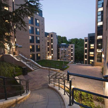 Campus accommodation at night