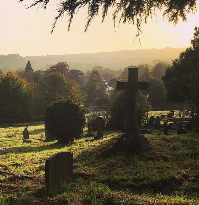 View across the West Hill cemetery at sunset