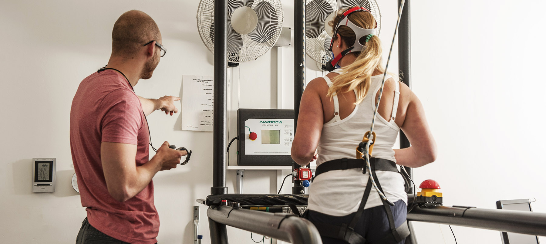 Sport and Exercise research at Winchester: runner and scientist in laboratory