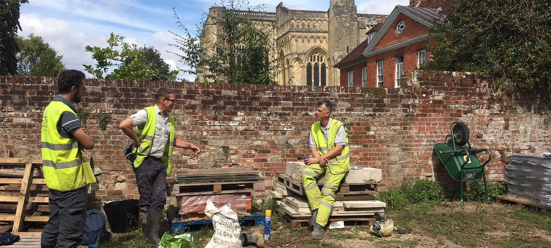 Archaeological contract research at the University of Winchester: image of team drilling boreholes in Winchester Cathedral grounds