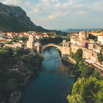 Mostar bridge during the daytime